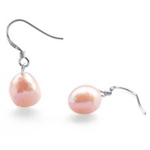 Pink 9-10mm Baroque Pearl Earrings, 925 SS