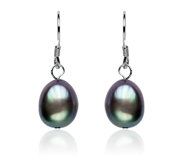 Black 9-10mm Baroque Pearl Earrings, 925 SS