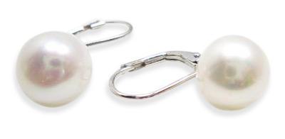 White 10-10.5mm Pearl SS Leverback Earrings