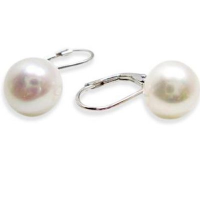 Large White Pearl 925S Silver Leverback Earrings