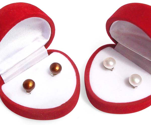 8-9mm white and chocolate Pearl Stud Earrings, 925 Sterling Silver