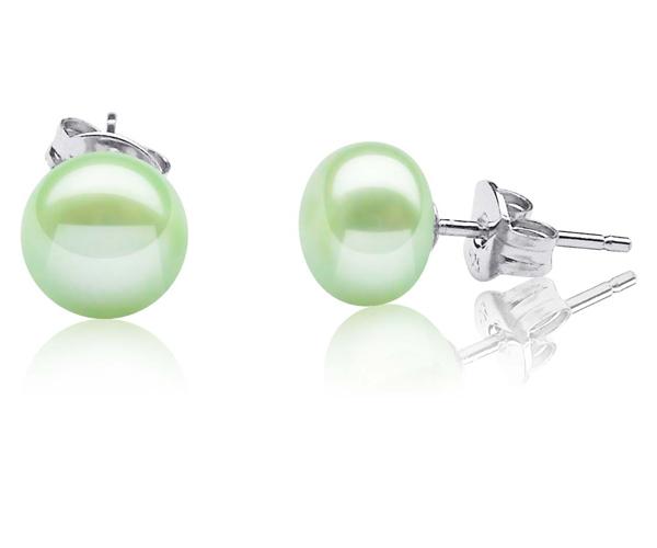 8-9mm light green Pearl Stud Earrings, 925 Sterling Silver