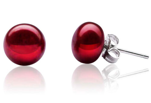 8-9mm craberry Pearl Stud Earrings, 925 Sterling Silver