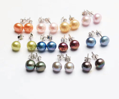 sterling silver pearl studs earrings in all colors