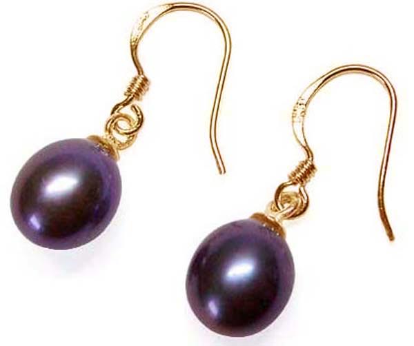 7-8mm Drop black Pearl Sterling Silver Earrings