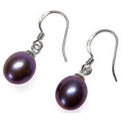 925 silver dangling drop pearl earrings