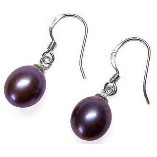 925 silver dangling drop pearl earrings