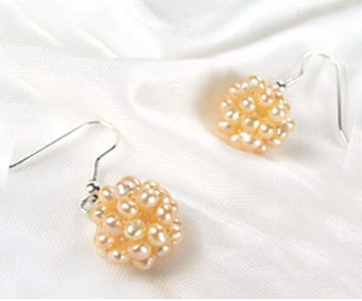 Pink Pearls Snow Ball 925 SS pearl Earrings