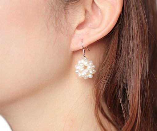 White 3.5-4.5mm Semi-round Pearls Snow Ball SS Earrings