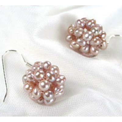 Lavender colored Snow Ball 925S Silver pear Earrings