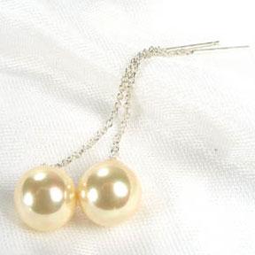 Champagne 10mm Dangling SSS Pearl Earrings