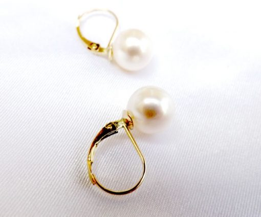8.5-9mm White AAA True Round Pearl 14KY Gold Leverback Earrings