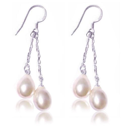 White, 2 Teardrop Pearls Dangling in SS Earrings