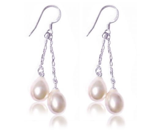 White, 2 Teardrop Pearls Dangling in SS Earrings