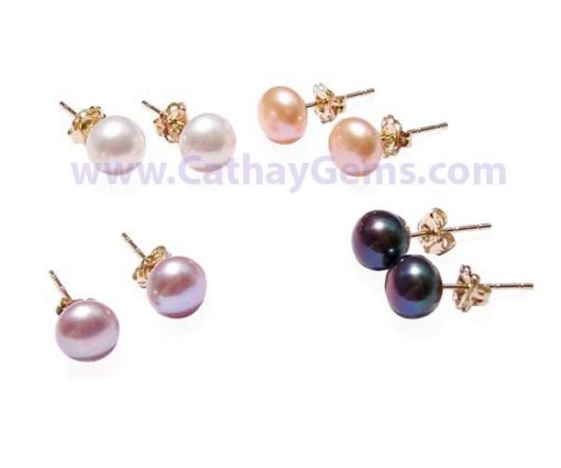 White, Lavender, Pink and Black 6-6.5mm AAA Pearl Earrings, 14K YG