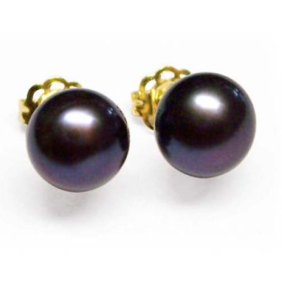 Black 6-6.5mm AAA Pearl Earrings, 14K YG