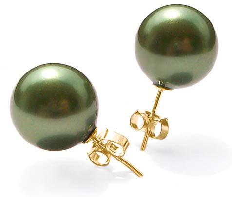 Peacock Green 10mm or 12mm Southsea Shell Pearl Stud Earrings in 14k YG