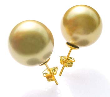 Gold 10mm or 12mm Southsea Shell Pearl Stud Earrings in 14k YG
