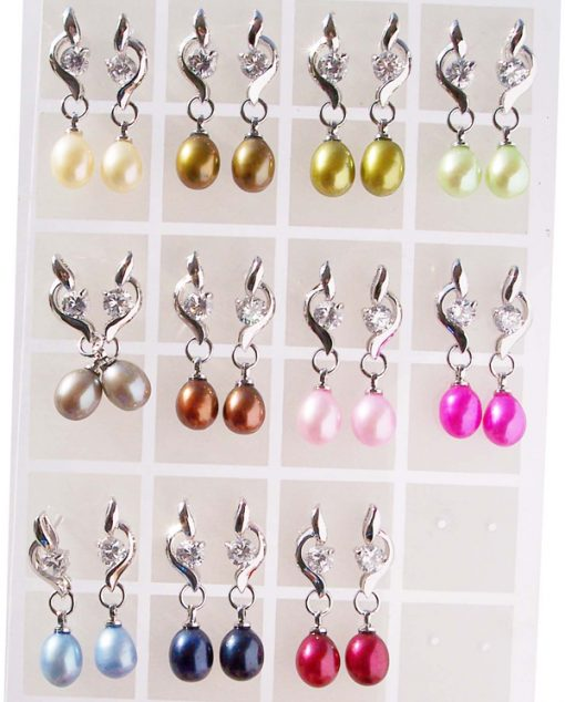Champagne, Dark Golden Rod, Olive Green, Light Green, Grey, Chocolate, Baby Pink. Hot Pink, Royal Blue, Cranberry 7-8mm Pearl Earrings in Drop Shaped Pearls with Single Cz Diamond