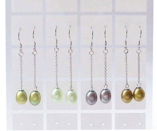 Olive Green, Light Green, Grey and Dark Gold 7-8mm Dangling Teardrop Pearl Earrings Silver