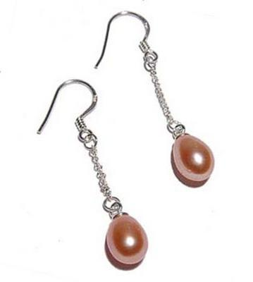 Pink 7-8mm Dangling Teardrop Pearl Earrings Silver