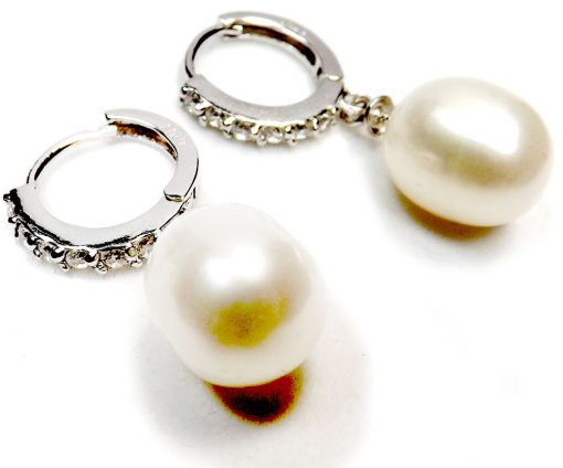 925S Silver Pearl Dangling Earrings in Diamond Accent Circle