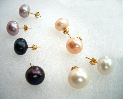 White 10mm Pearl Earrings in 14k White Gold