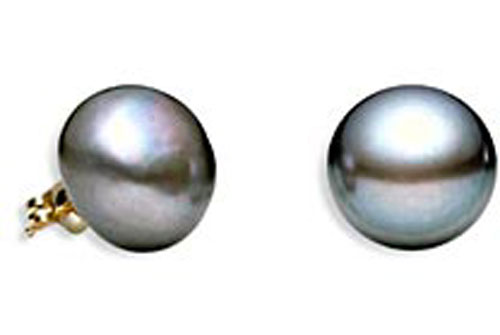 10.5mm Sized Black Pearl Earrings in 14k Yellow Gold