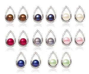 White, Grey, Cranberry, Chocolate, Navy Blue, Light Green, Baby Pink and Black 7-8mm AA Button Pearl Earrings,18K White Gold Overlay