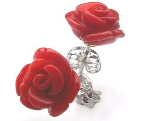 Red Rose Shaped Coral Earrings in 925 SS
