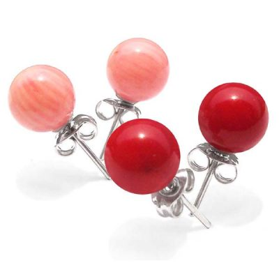Pink and Red 8-9mm Round Coral Silver Stud Earrings