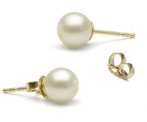 5.5-6mm Completely Round AAA Quality Pearl Studs Earrings 14KY Gold