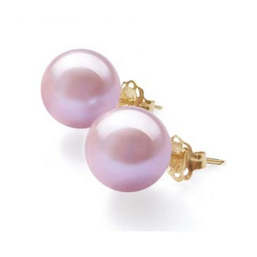 6mm mauve colored 14k yellow gold studs