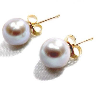 14ky gold grey pearl studs earrings