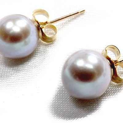 6.5-7mm Grey Round AAA Quality Pearl Studs Earrings 14K Gold