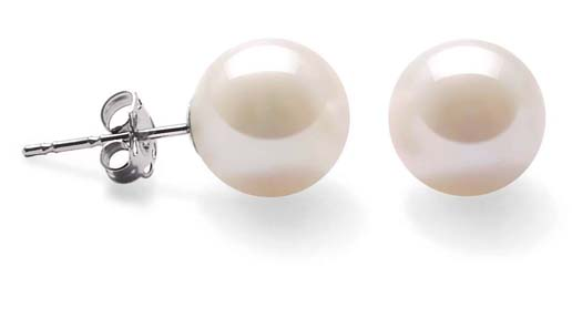 White 8-8.5mm AAA Round Pearl Earrings, 14k YG