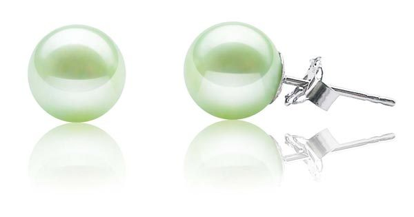 Light Green 8-8.5mm AAA Round Pearl Earrings, 14k YG