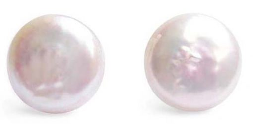 White 11-12mm Coin Pearl Stud Earrings, 925 SS