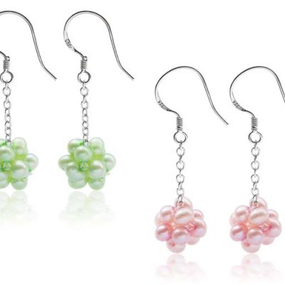 Light Green and Baby Pink Dangling Clustered Pearl Earrings, 925 Silver