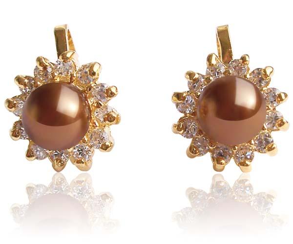 Chocolate 6mm SSS Pearl Clip-on Earrings, 18K YG Overlay