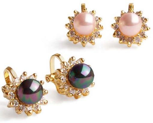 Pale Pink and Peacock Black 6mm SSS Pearl Clip-on Earrings, 18K YG Overlay