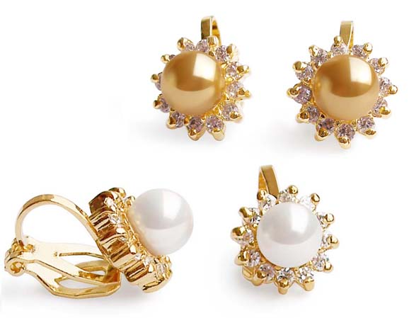 Champagne and White 6mm SSS Pearl Clip-on Earrings, 18K YG Overlay