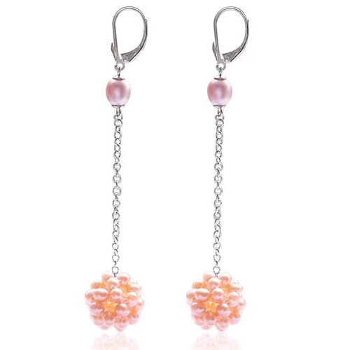 Mauve/Pink Long Dangling Leverback Earrings in Snowball Design, 925 SS