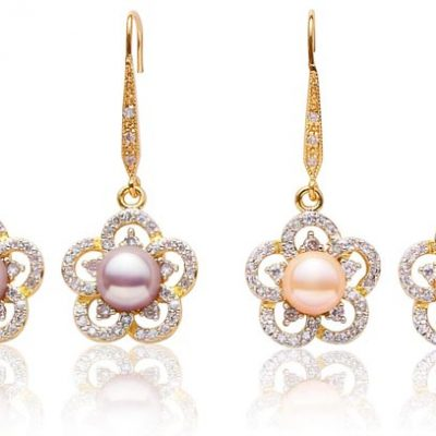 Mauve and Pink 8-9mm Long Dangling Pearl Earrings in Flower Design