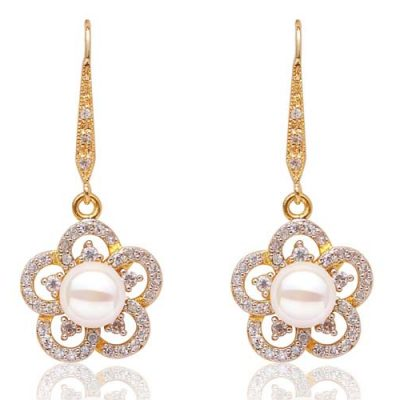 White 8-9mm Long Dangling Pearl Earrings in Flower Design