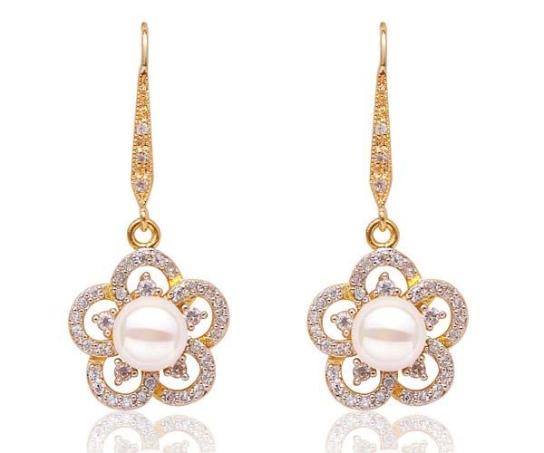 White 8-9mm Long Dangling Pearl Earrings in Flower Design