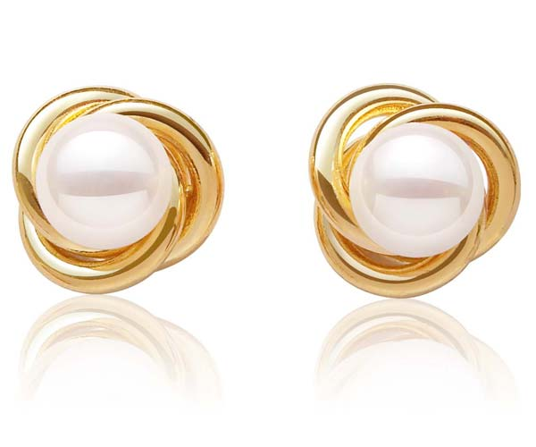 White 9-10mm Pearl Earrings in a Twisted Design, 18K YG Overlay