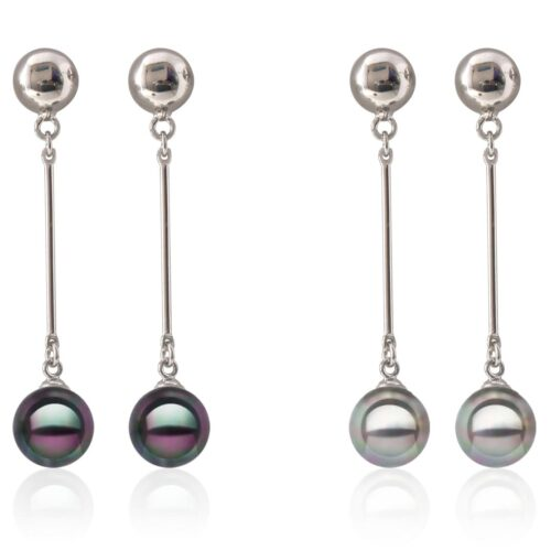Gray or Black 10mm Southsea Shell 925Silver Pearl Earrings