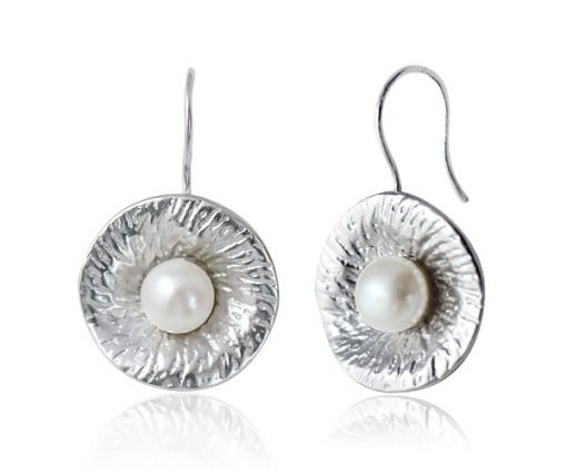 White 7-8mm Button Pearl Earrings,18k WG Overlay