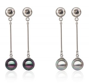 Black and Grey 10mm Southsea Shell Pearl Earrings,18K WG Overlay